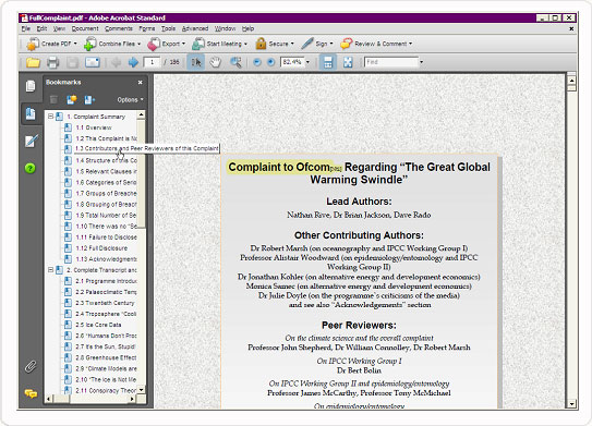 PDF Bookmarks Panel screen capture
